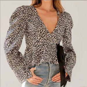 NWT Lulu's Leopard Faux Wrap Tie Top Tan Sz Small